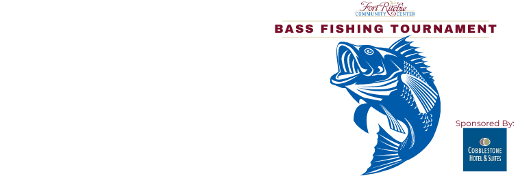 bass fishing tournament. fort ritchie community center. image of bass colored blue.