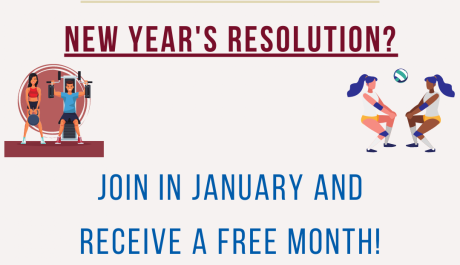 New Year's Resolutions? join in january and receive a free month of membership!