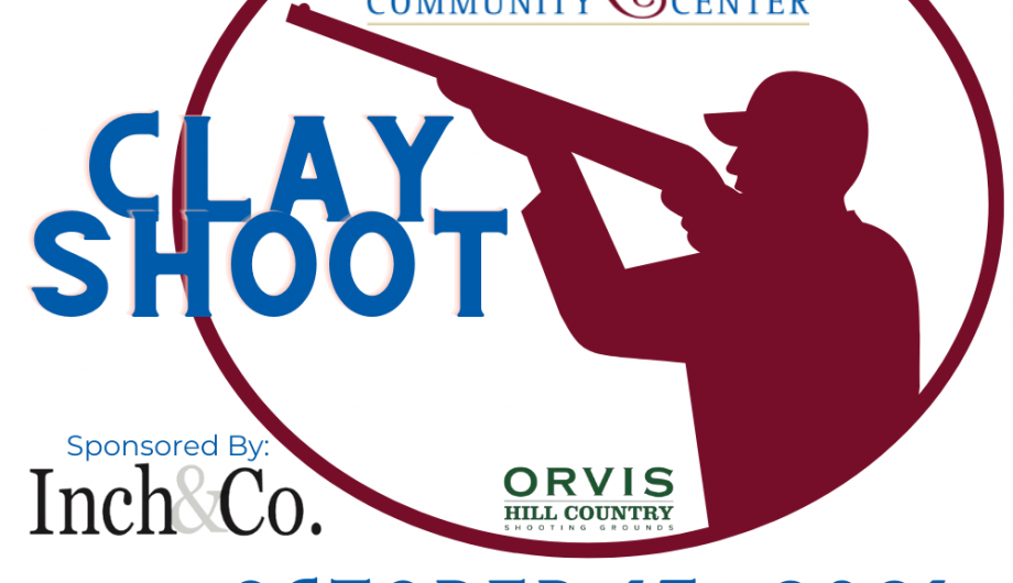 clay shoot fundraiser. fort ritchie community center. orvis hill country. sponsored by inch & co. image of man with shotgun aimed ready to fire.