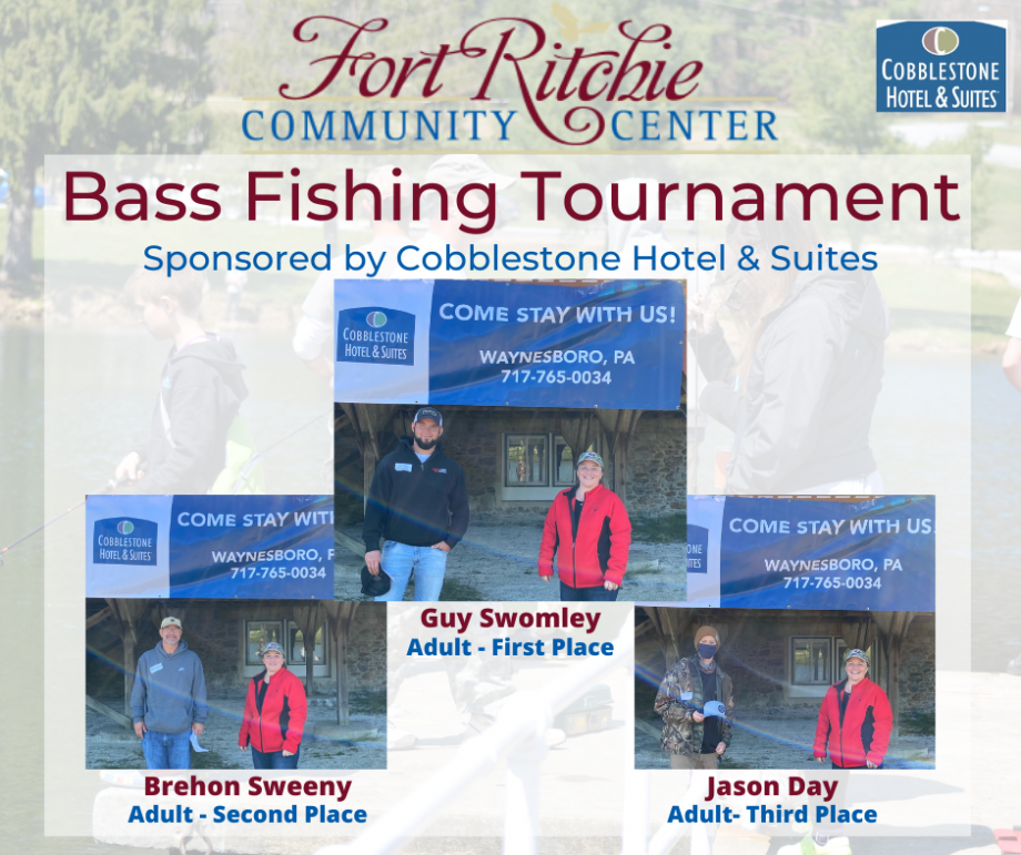Adult Fishing Tourney Winners, Swomley - first place, Sweeny, second place, Day; third place