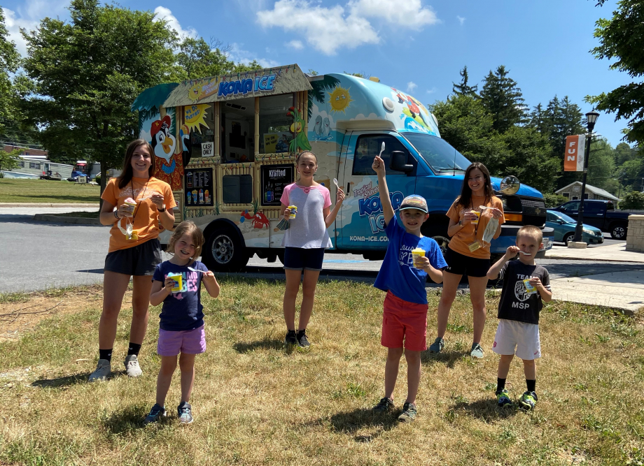 KONA ice truck at summer camp 2020 with camp counselors and campers