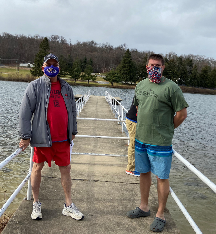 Washington County Commissioners Jeff Cline and Cort Meinelschmidt before they took the plunge into Lake Royer on December 1 as part of a matching donation fundraiser