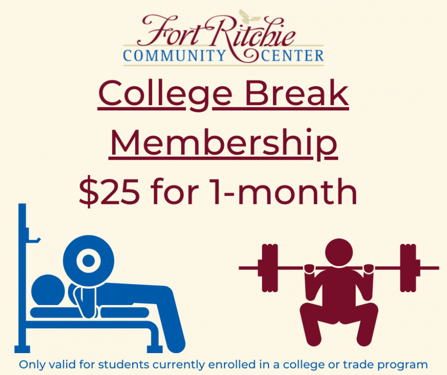 College Break Membership $25 for 1-month. Only valid for students currently enrolled in a college or trade program. images of stick figures squatting and chest press on bench.
