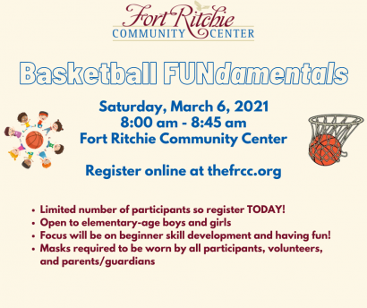 basketball FUNdamentals. · Limited number of participants so register TODAY!  · Open to elementary-age boys and girls  · Focus will be on beginner skill development and having fun!  · Masks required to be worn by all participants, volunteers, and parents