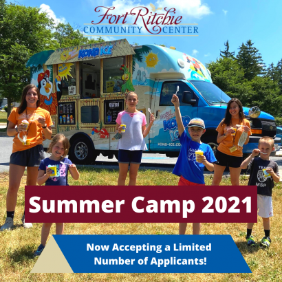 KONA ice truck at summer camp 2020 with camp counselors and campers. summer camp 2021 now accepting a limited number of applicants