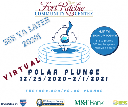 see ya later 2020! polar plunge,12/25/2020-2/1/2021. thefrcc.org/polar-plunge. sponsored by Washington County MD, Washington County MD Health Department, M&T Bank and RMC