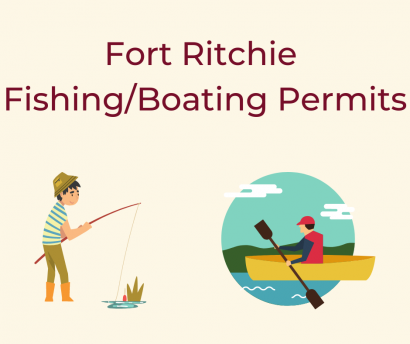 Fort RItchie fishing/boating permits. graphic of young boy fishing from shore. graphic of man kayaking/canoeing