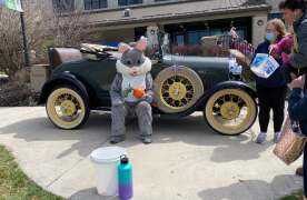 the Easter Bunny on sitting in front of classic Ford car